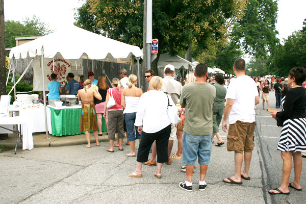 Line atLong line at Taste of Tremont for pierogi