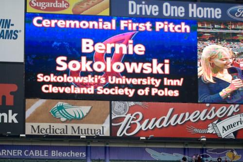 Bernie Sokolowski on the jumbotron